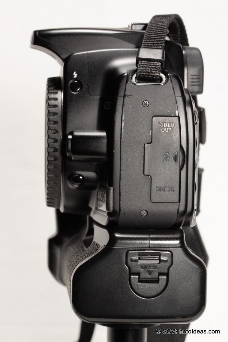 Canon EOS 400D + BG-E3 left side