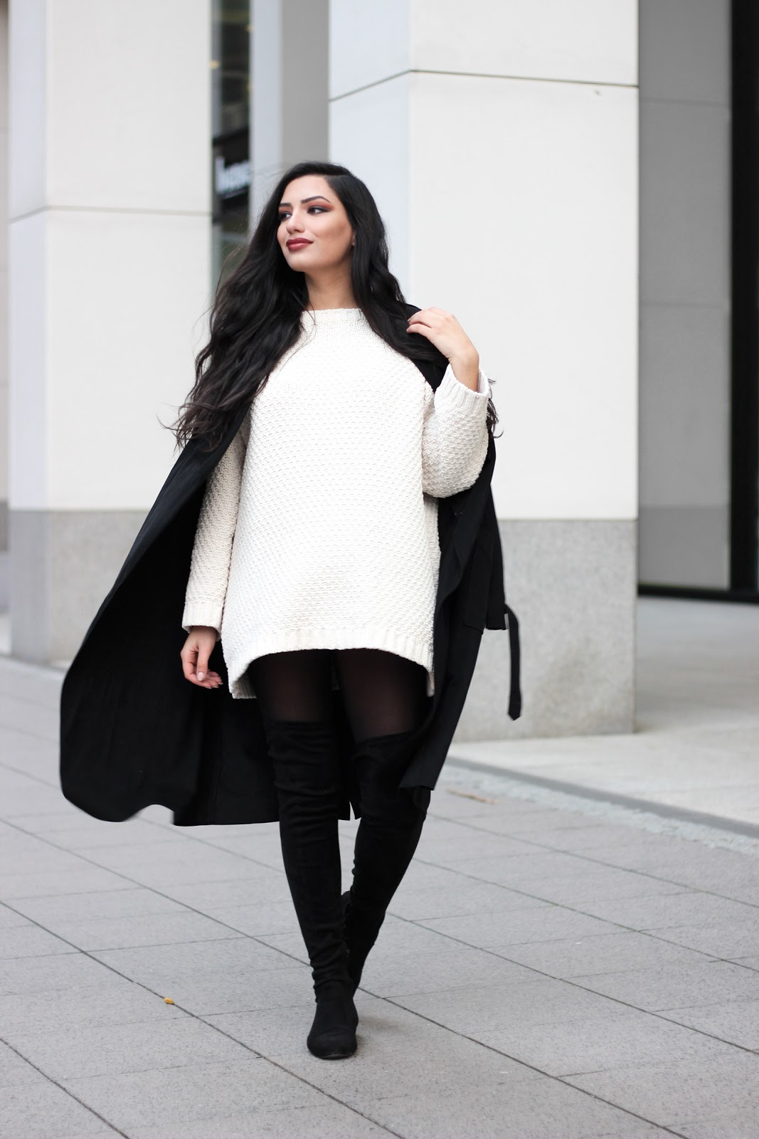 Overknee Stiefel + Oversized Strickpullover – Fashion Blog