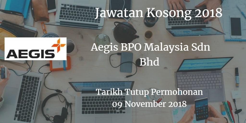 Jawatan Kosong Aegis BPO Malaysia Sdn Bhd 09 November 2018