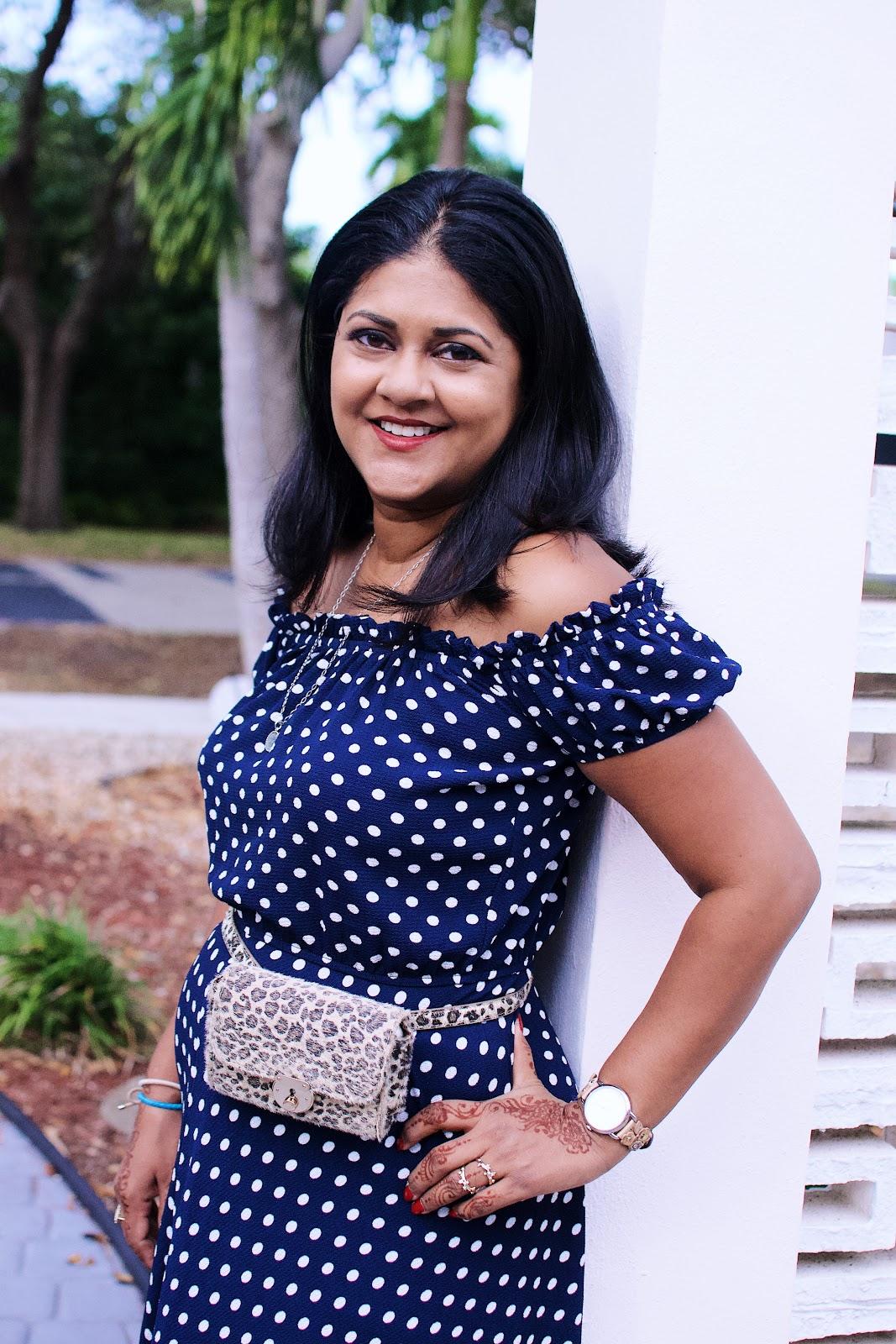 Leopard print belt bag, polka dot dress, hands free purse