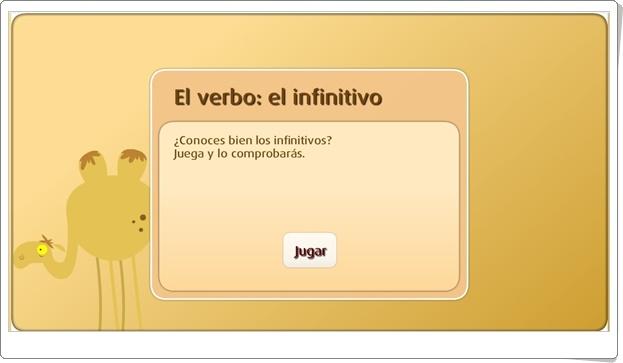 """""""El verbo: El infinitivo"""" (Juego de Lengua Española de Primaria)"""