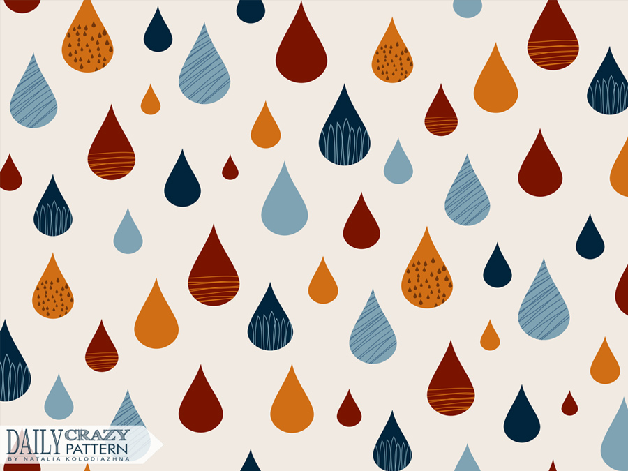 "Colorful print with fancy rain drops for ""Daily Crazy Pattern"" project"