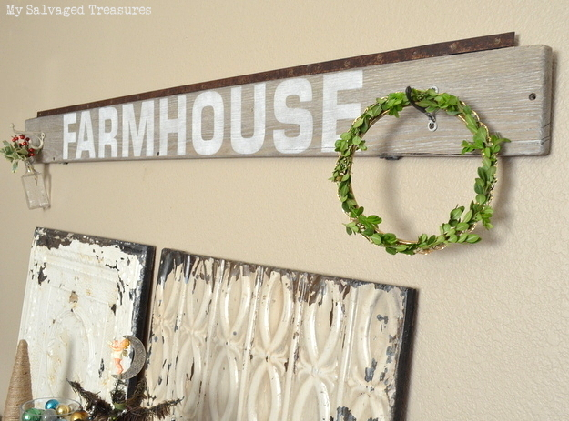 Rustic Farmhouse Sign with Old Sign Stencils