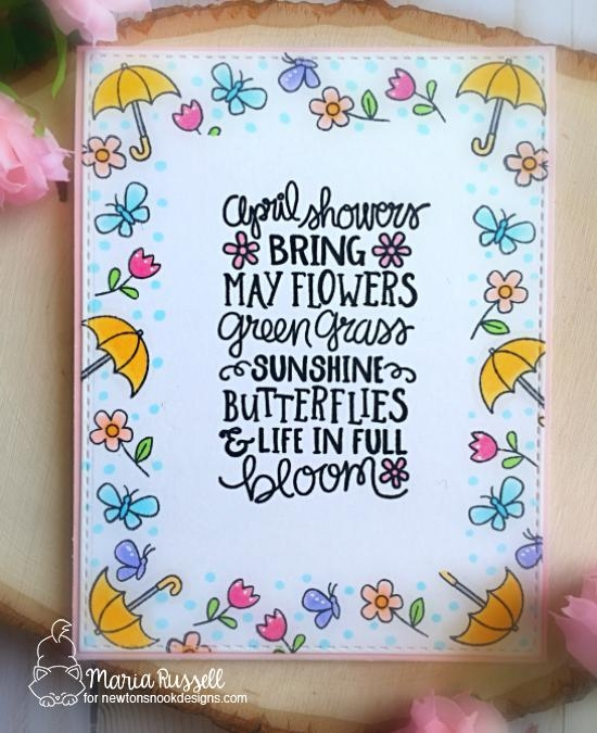 Spring Card by Maria Russell | April Showers Stamp Set by Newton's Nook Designs #newtonsnook #handmade