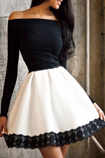 Gorgeous Off Shoulder Black And White Dress