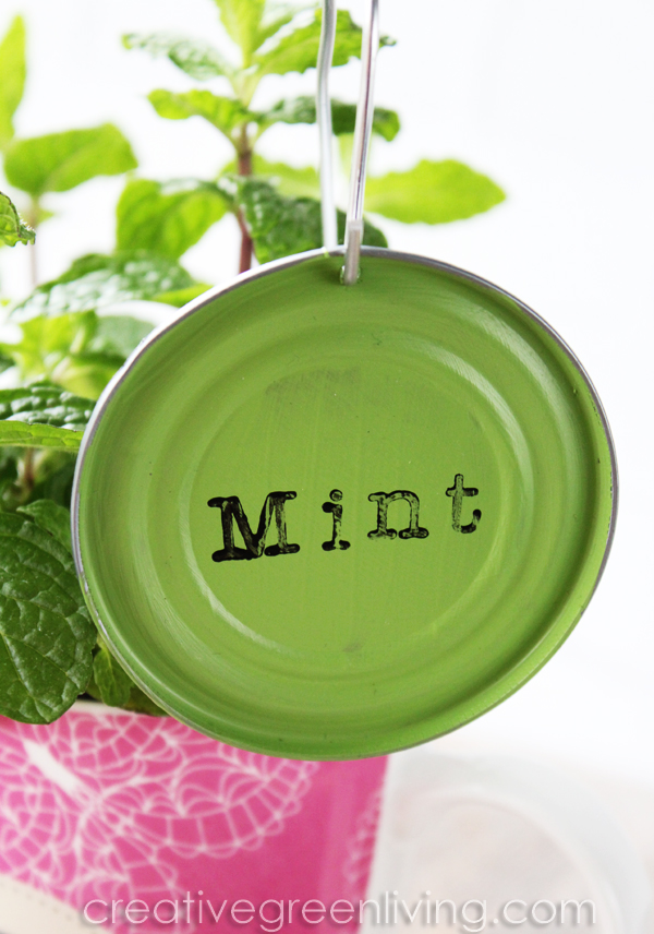 Make plant marker garden labels from tin can lids - easy and fast craft idea