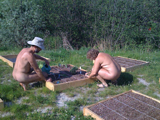 Square Foot community gardens at Bare Oaks Family Naturist Park
