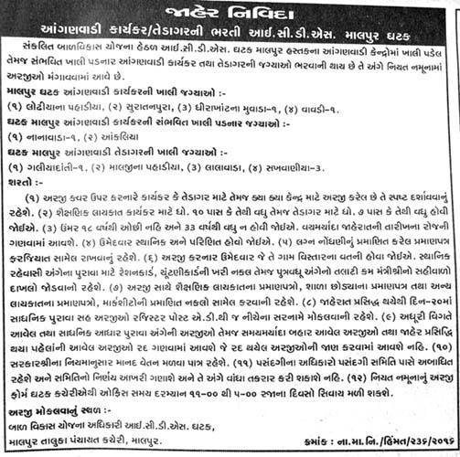 ICDS, Malpur Recruitment 2016 for Anganwadi Worker and Helper
