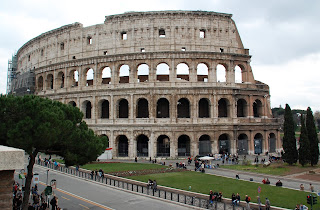 The Colosseum in Rome was begun by Vespasian and  completed by his son, Titus