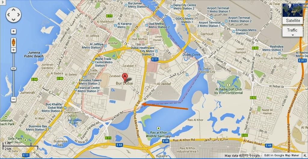 location map of bur dubai a dock
