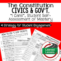 Constitution, Civics and Government I Cans, Self-Assessment of Mastery, Student Ownership of Learning