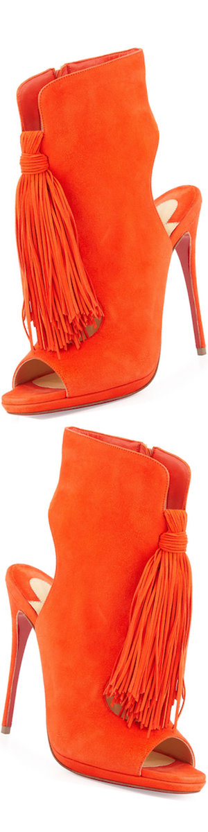 Christian Louboutin Ottaka Suede Fringe Open-Toe Red Sole Bootie, Cappucine