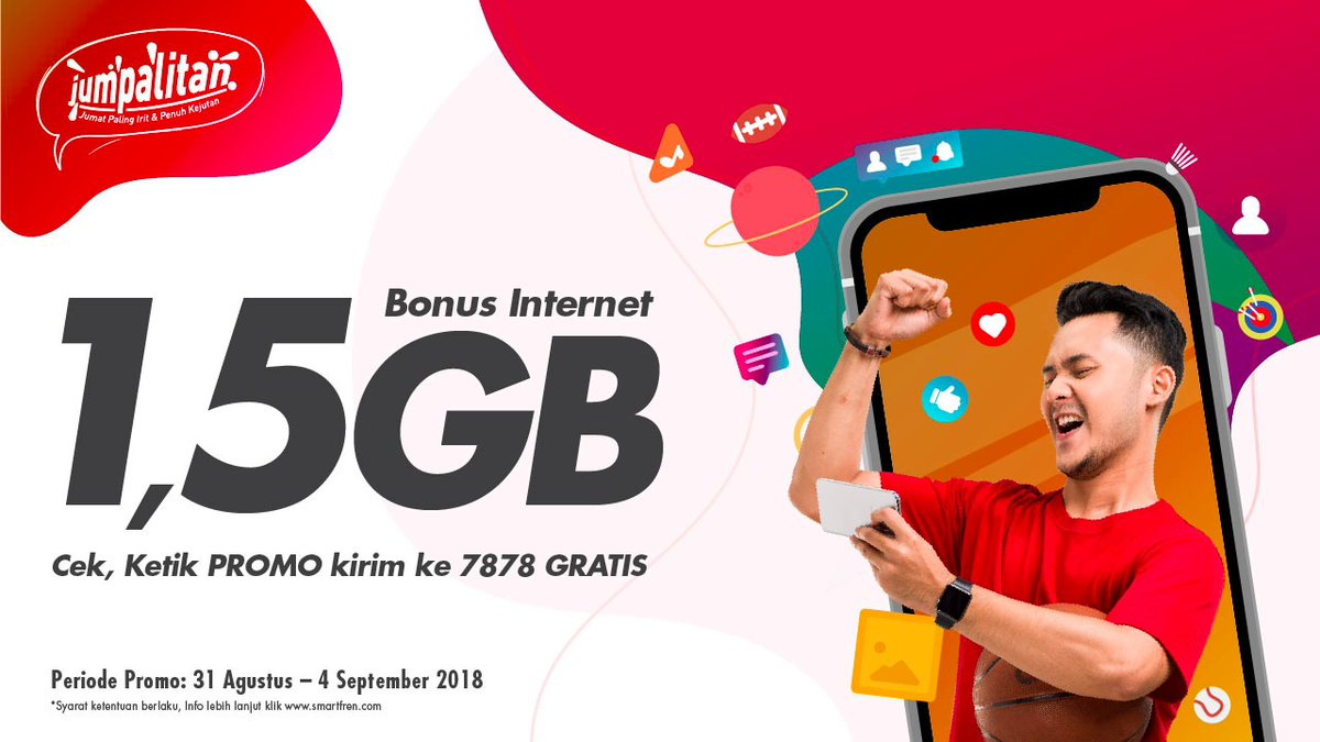 Smartfren - Promo Bonus Internet 1,5 GB (s.d 04 Sept 2018)