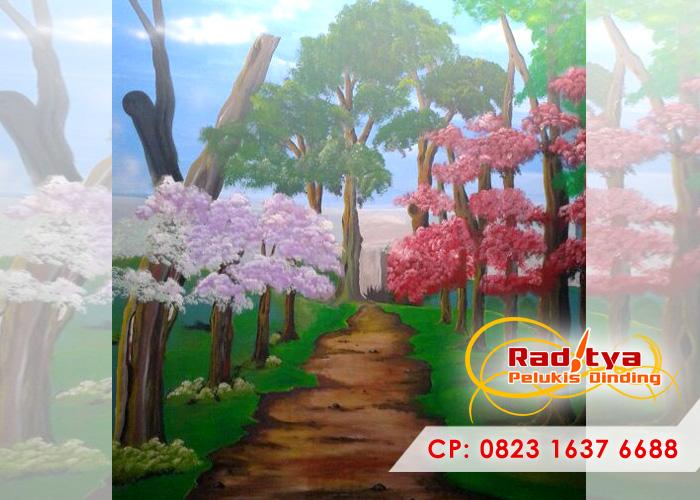 Lukisan dinding bunga sakura