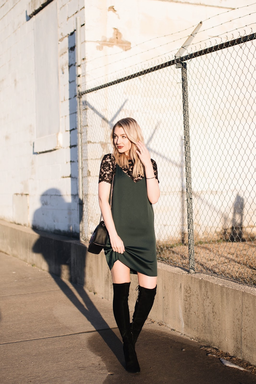 slip dress & otk boots