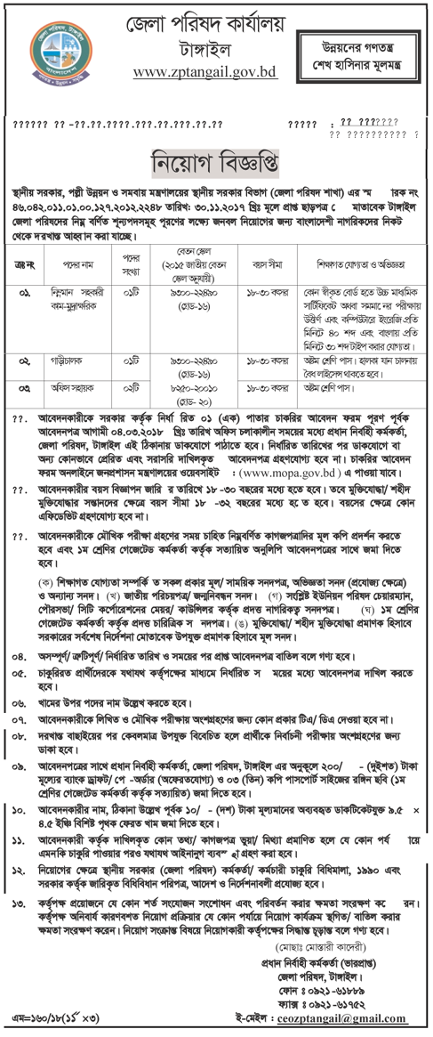 Zila Parishad Tangail Recruitment Apply Instruction, Application Fee, Payment Process, Salary, Age and Other Information