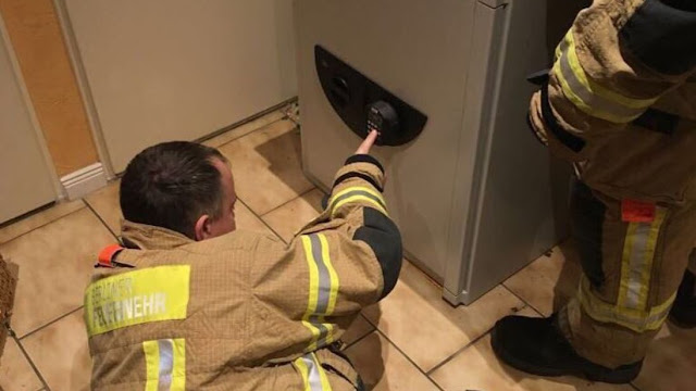 Firemen worked to free the boy for three hours, finally guessing the 6-digit code