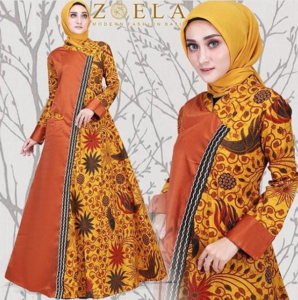 Model Baju Gamis Kombinasi Batik Terbaru 2019 Model Gamis 2019