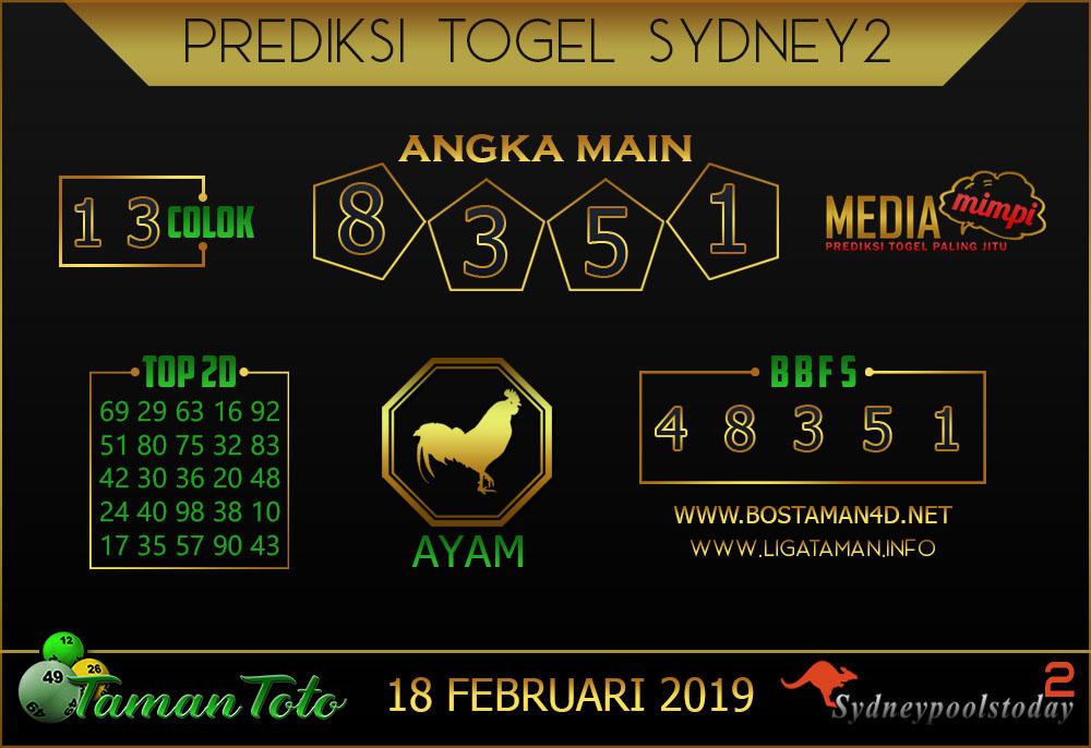 Prediksi Togel SYDNEY 2 TAMAN TOTO 18 FEBRUARI 2019