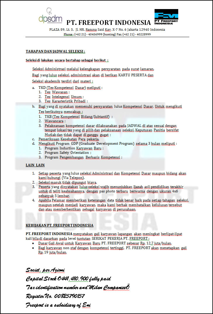Alamat Pt Freeport Lowongan Kerja Pt Garudafood September 2016 Surat Panggilan Test Lowongan Kerja Fiktif Pt Freeport Indonesia