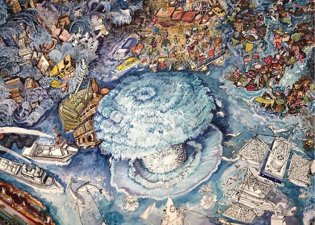 Ilustración del daño ambiental en el tema de ecologia