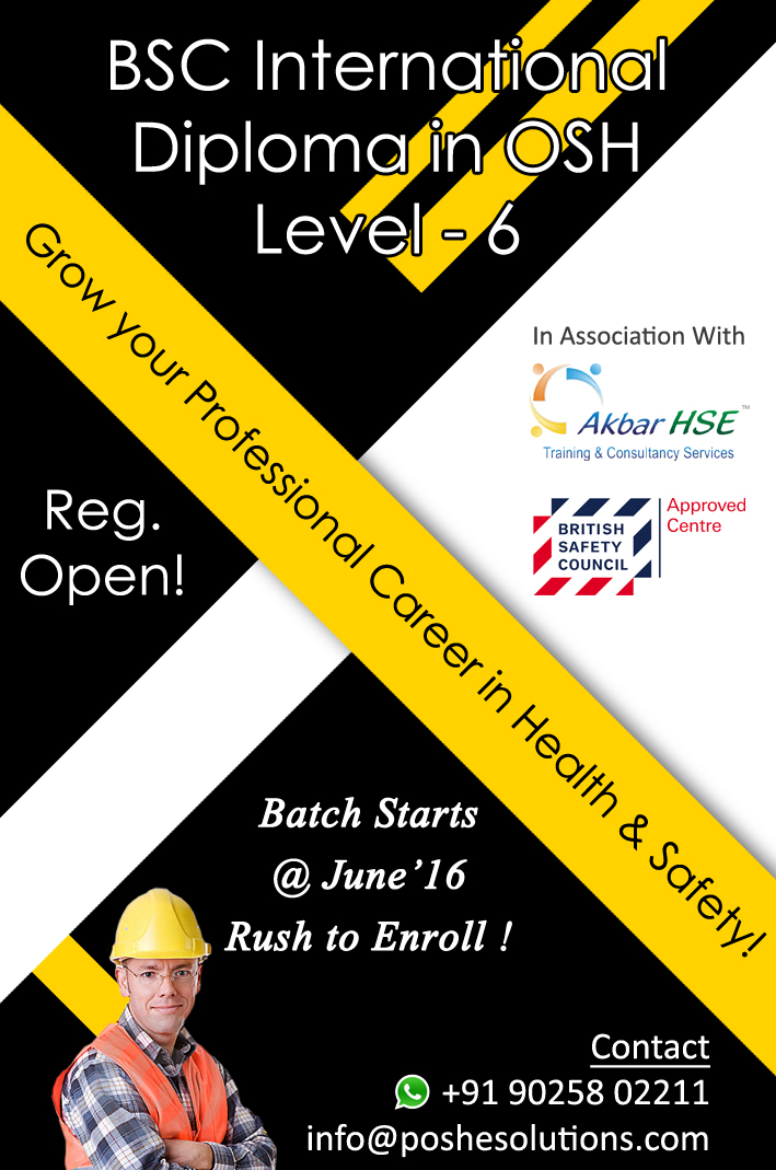 Nebosh Safety Courses In Chennai Bsc International Diploma In Occupational Safety Health