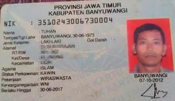 indonesian man named God