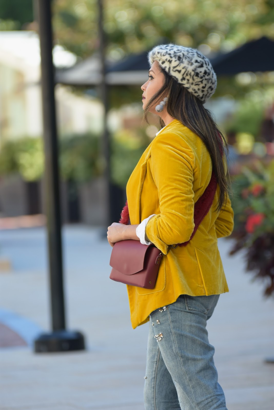 MUSTARD YELLOW JACKET, velvet blazer, fashion blogger, embellished sequin jean, boyfriend jeans, beret , animal print hat, fur bag, yello jacket casual outfit, myriad musings