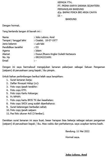 Contoh Surat Lamaran Kerja Satpam Bank