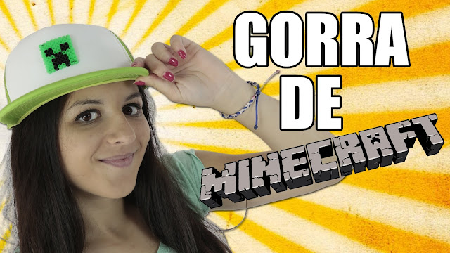 gorra, minecraft, creeper, casera, hama, beads