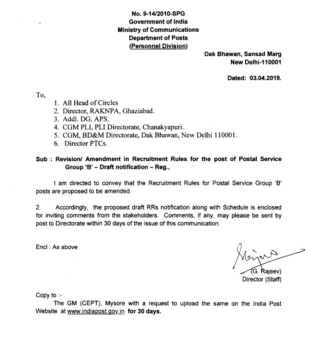Revision/ Amendment In Recruitment Rules For The Post Of
