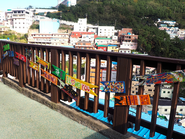 Colourful fish signs along the walking course of Gamcheon Village, Busan, South Korea