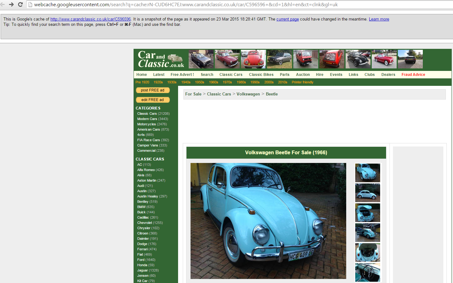 Ebay Scam 1966 Vw Volkswagen Beetle Hcg 409 Ec Fraud 06 Apr 15
