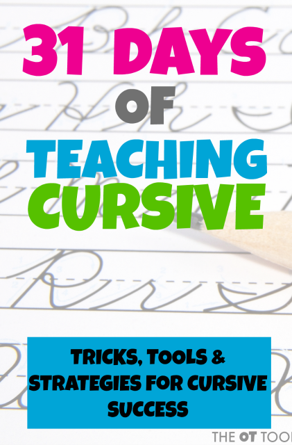 This 31 day series will go through all of the steps of learning cursive writing and teachers, therapists, and parents will love these handwriting strategies to teach cursive handwriting.