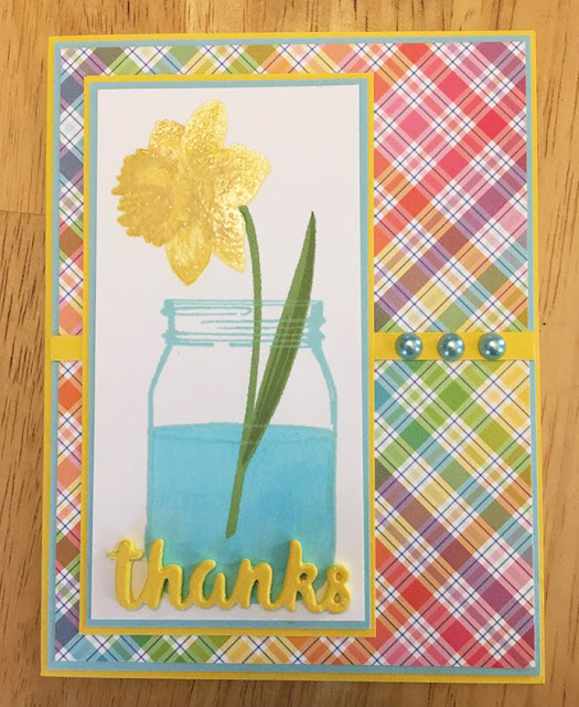 Sunny Studio Stamps: Daffodil Dreams Thank You Card by Barbara Fender