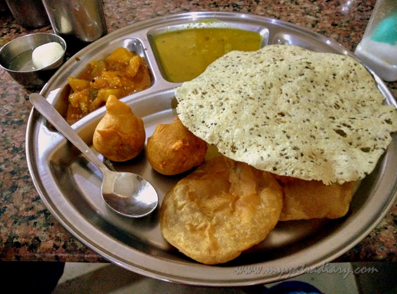 North Indian thali at Gujarati Bhojanalaya in Rameshwaram, Tamil Nadu