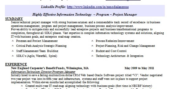 Project Manager Great Resume Format In Word Free Download