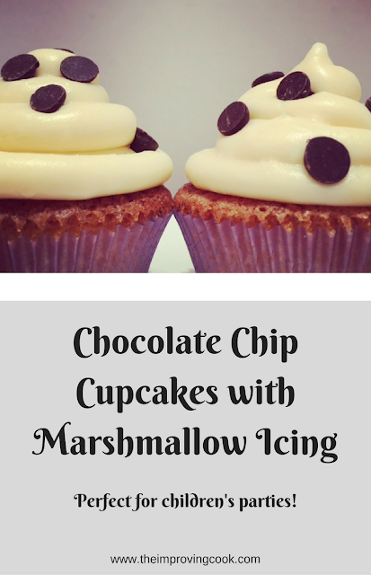 Chocolate Chip Cupcakes with Marshmallow Icing Pinable image