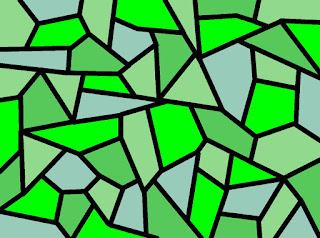 grünes Mosaik: reine Farbe zwischen trüben Tönen
