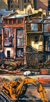 Plein air oil painting of the Erskine street terraces at the KENS site near Barangaroo painted by industrial heritage artist Jane Bennett