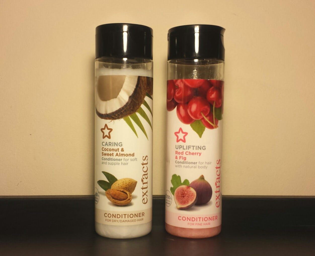 This is a picture of Superdrug Extracts Conditioners in Sweet Almond & Coconut and Red Cherry & Fig Review