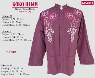 Koko model bordir tangan panjang 1 warna - ilham 1