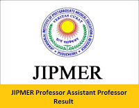 JIPMER Professor Assistant Professor Result