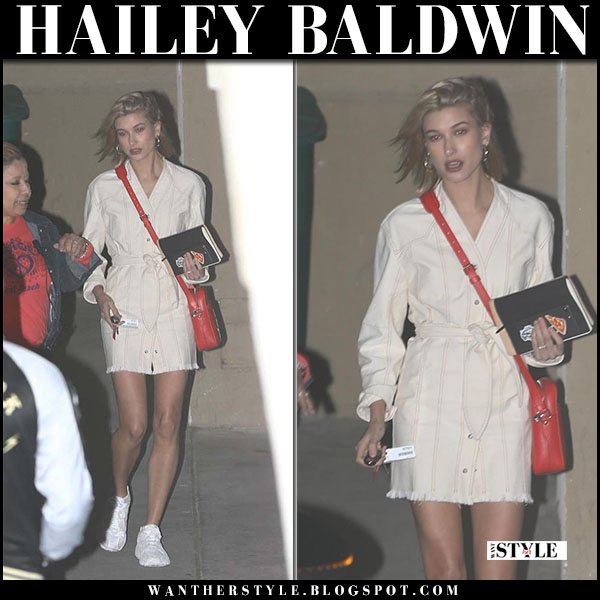 Hailey Baldwin in cream belted shirt dress nanushka and sneakers adidas yung street fashion march 28