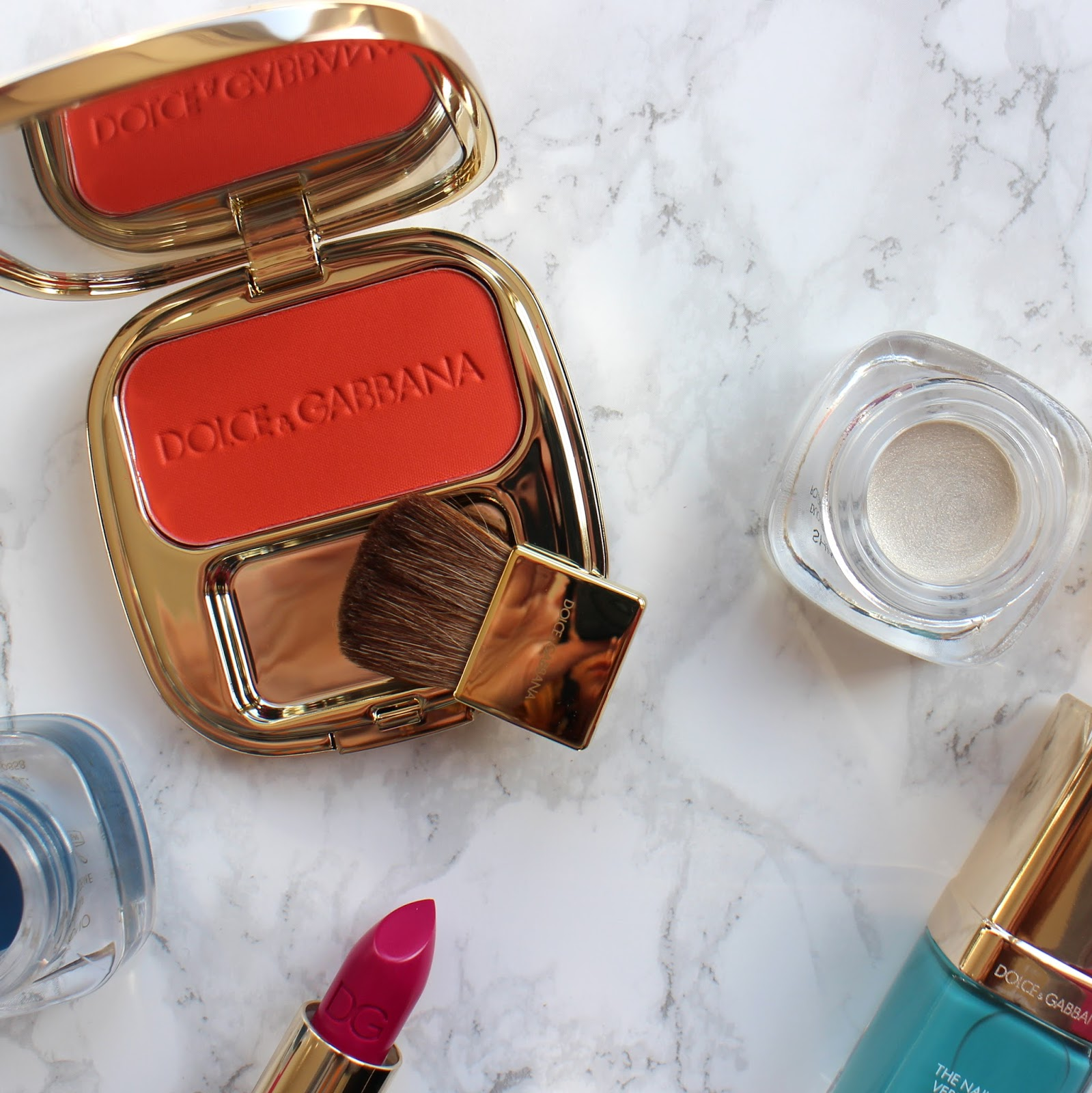 Dolce&Gabbana-Luminous-Cheek-Colour-Blush-Orange,Shimmer-Powder-StarShine-swatches
