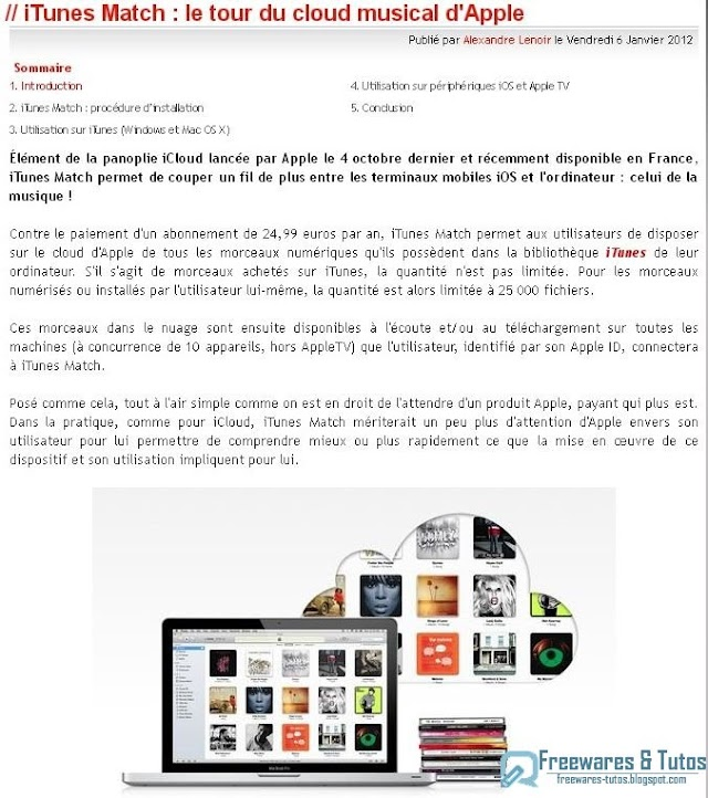Le site du jour : guide d'iTunes Match