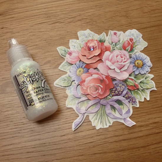 Rose flower paper embellishment with glitter glue and gem stones