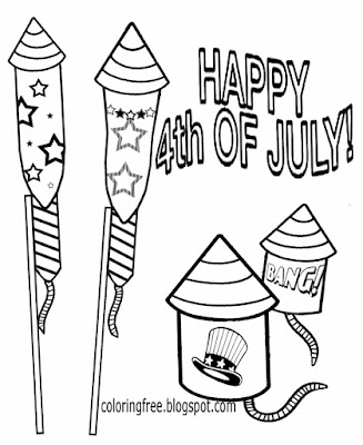 USA party 4th July Big rocket firecracker printable firework coloring book pages for teenage kids