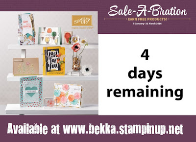 Hurry and take advantage of Sale-a-Bration from Stampin' Up! UK - lots of freebies for you but only until the 31 March 2016 - grab them here