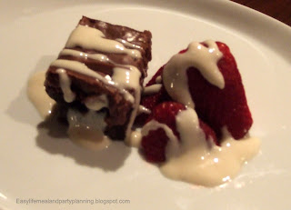 Faux Vanilla Almond Creme Fraiche over Brownies &Strawberries - Easy Life Meal & Party Planning